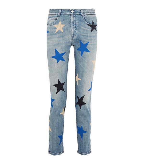 Stella McCartney Printed Mid-Rise Straight-Leg Jeans