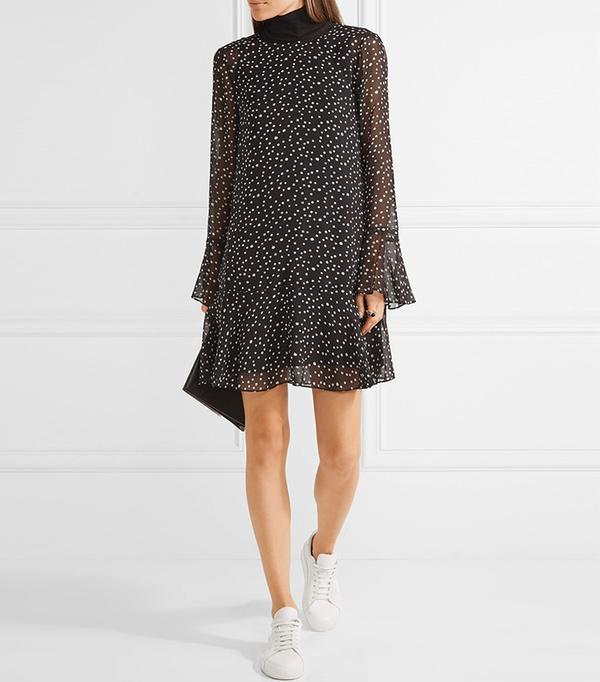 Theory Marah Printed Silk-Chiffon Mini Dress