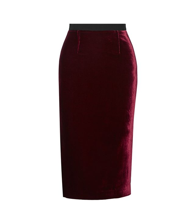Roland Mouret Arreton Velvet and Stretch-Cady Pencil Skirt