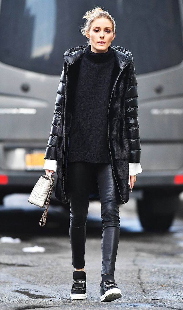 On Olivia Palermo: Mila Furs coat; Analeena purse; J Brand Edita Leggings ($895); Roger Vivier Sneaky Viv Sneakers ($1325). Embellished sneakers and leather-effect leggings are an easy combination...