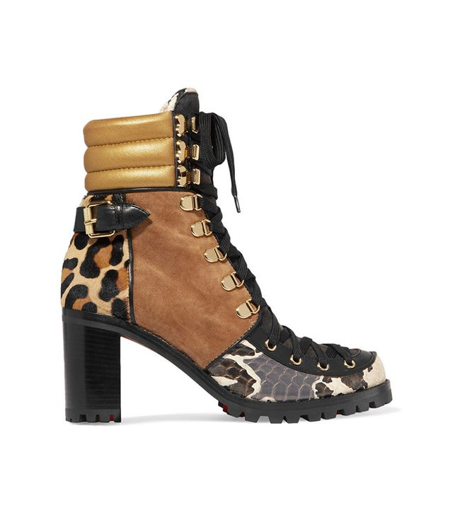 Christian Louboutin Who Runs Suede, Elaphe, Metallic Leather and Calf Hair Ankle Boots