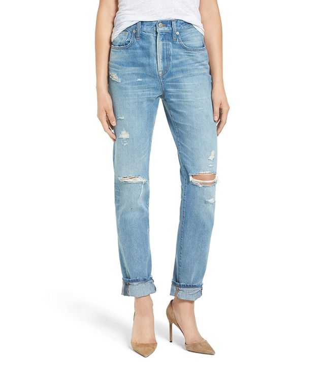 Madewell Perfect Vintage Destroyed High-Rise Boyfriend Jeans