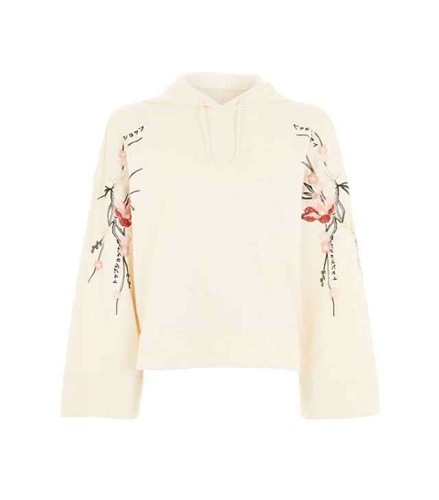 Topshop Petite Embroidered Hoodie