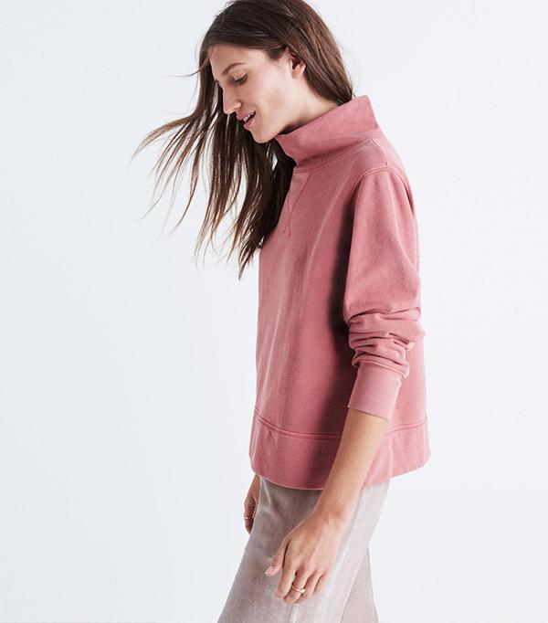 Madewell Garment-Dyed Funnelneck Sweatshirt