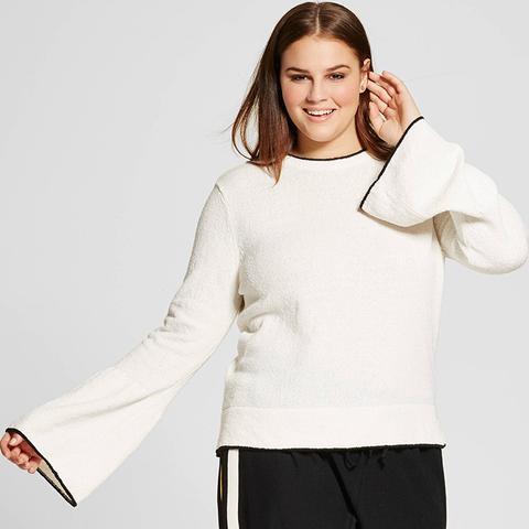 Plus-Size Trumpet-Sleeve Crew Sweater