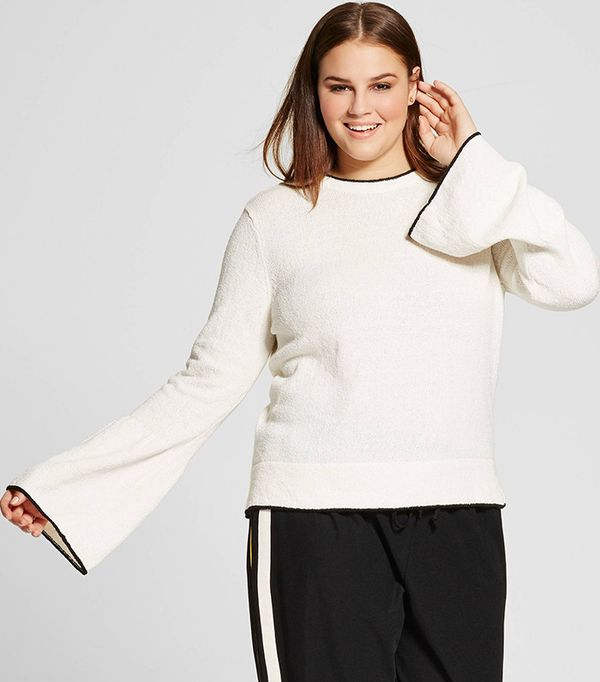 Who What Wear Plus-Size Trumpet-Sleeve Crew Sweater
