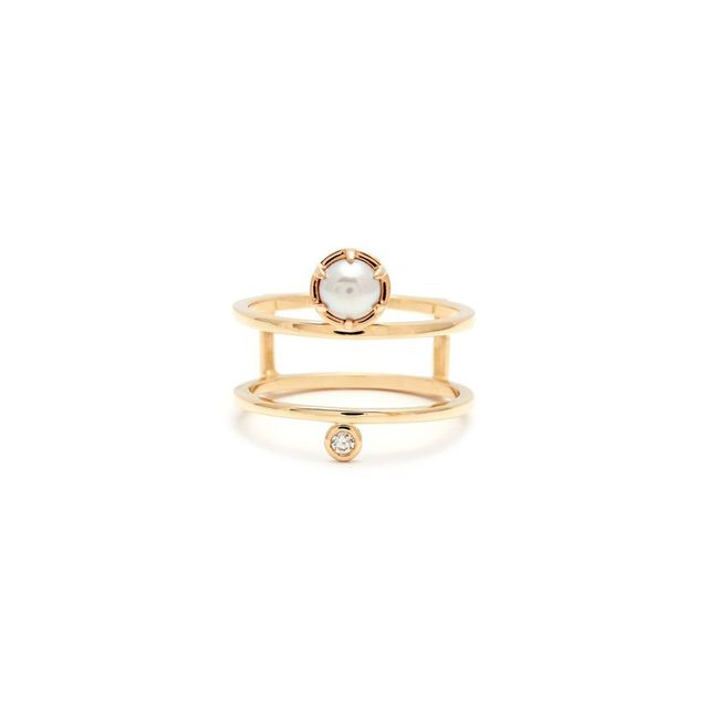Anna Sheffield Reverse Attelag' Double Band Pearl & Diamond Ring