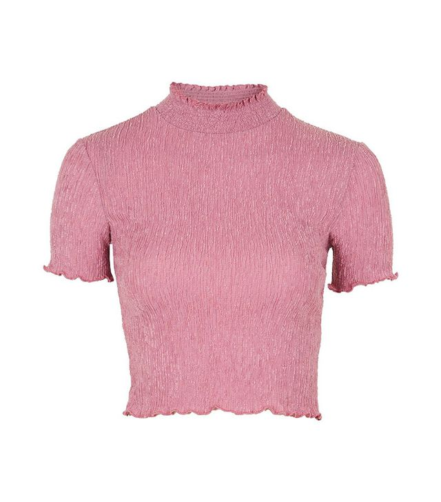 Topshop Textured Ruffle Neck Crop Top