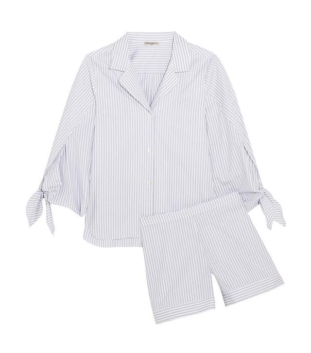 Three Graces London Bardeu and Clarence Striped Cotton Pajamas