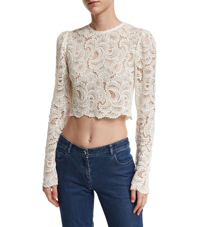 A.L.C. Talia Long-Sleeve Cropped Sheer Lace Top