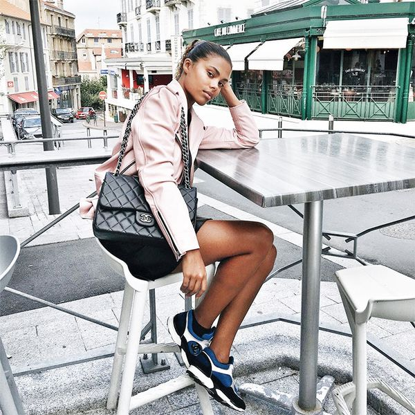 The teenager has a penchant for tapping into brands with an incredible cool factor, like Understated Leather, the label behind her light pink jacket.