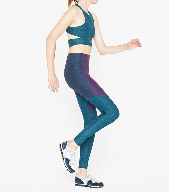 Outdoor Voices Slashback Crop and 3/4 Tri-Tone Warmup Leggings