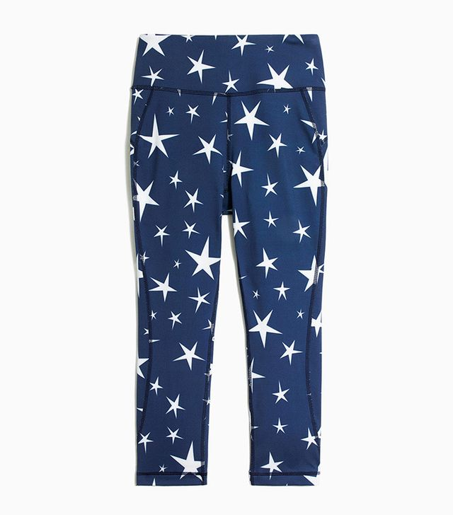 New Balance for J.Crew High-Waisted Performance Crop Leggings in Star Print