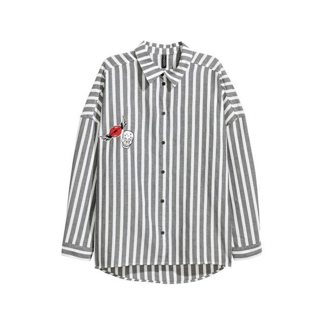 H&M Wide-Cut Cotton Shirt