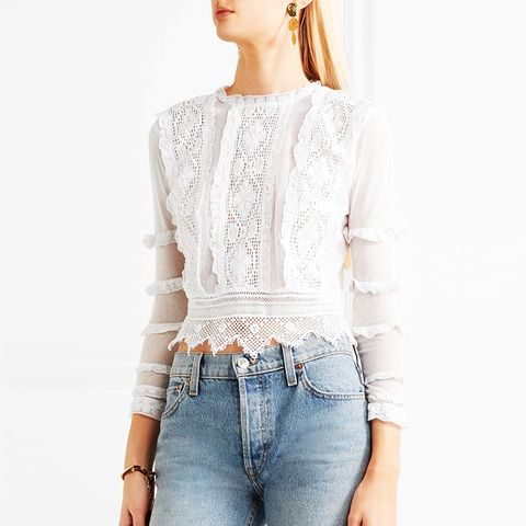 Provence Crochet-Lace and Mesh Top