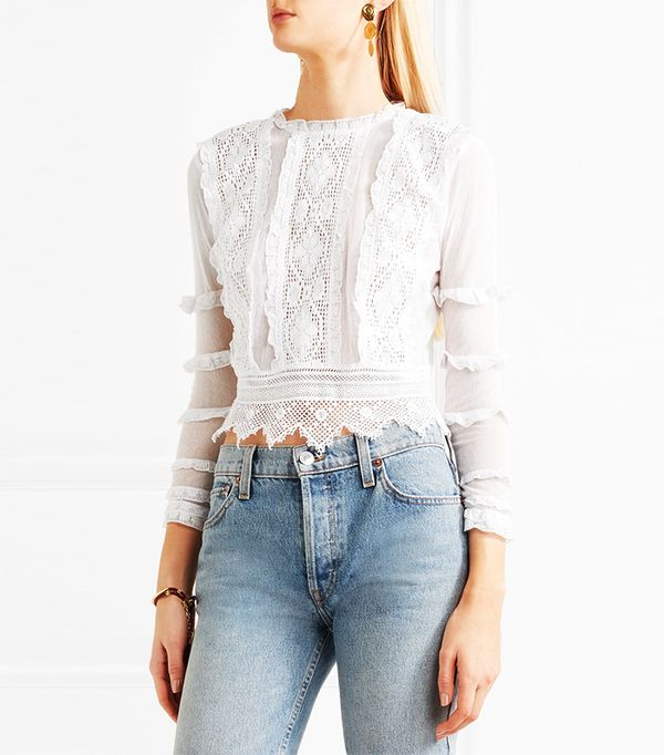 Place Nationale Provence Crochet-Lace and Mesh Top