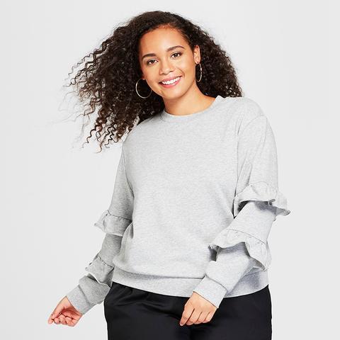 Long-Sleeve Flounce-Trim Sweatshirt