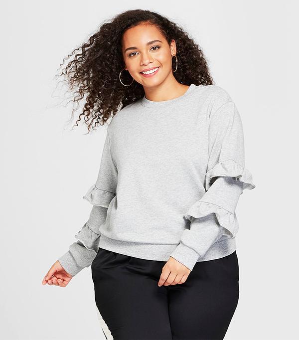 Who What Wear Long-Sleeve Flounce-Trim Sweatshirt