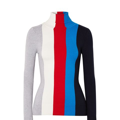 Striped Cotton-Blend Turtleneck Sweater