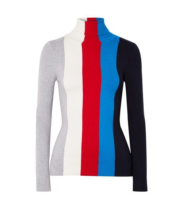 JoosTricot Striped Cotton-Blend Turtleneck Sweater