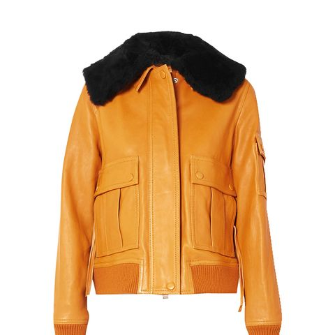 Shearling-Trimmed Leather Jacket