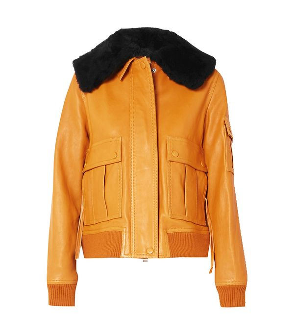 Victoria by Victoria Beckham Shearling-Trimmed Leather Jacket