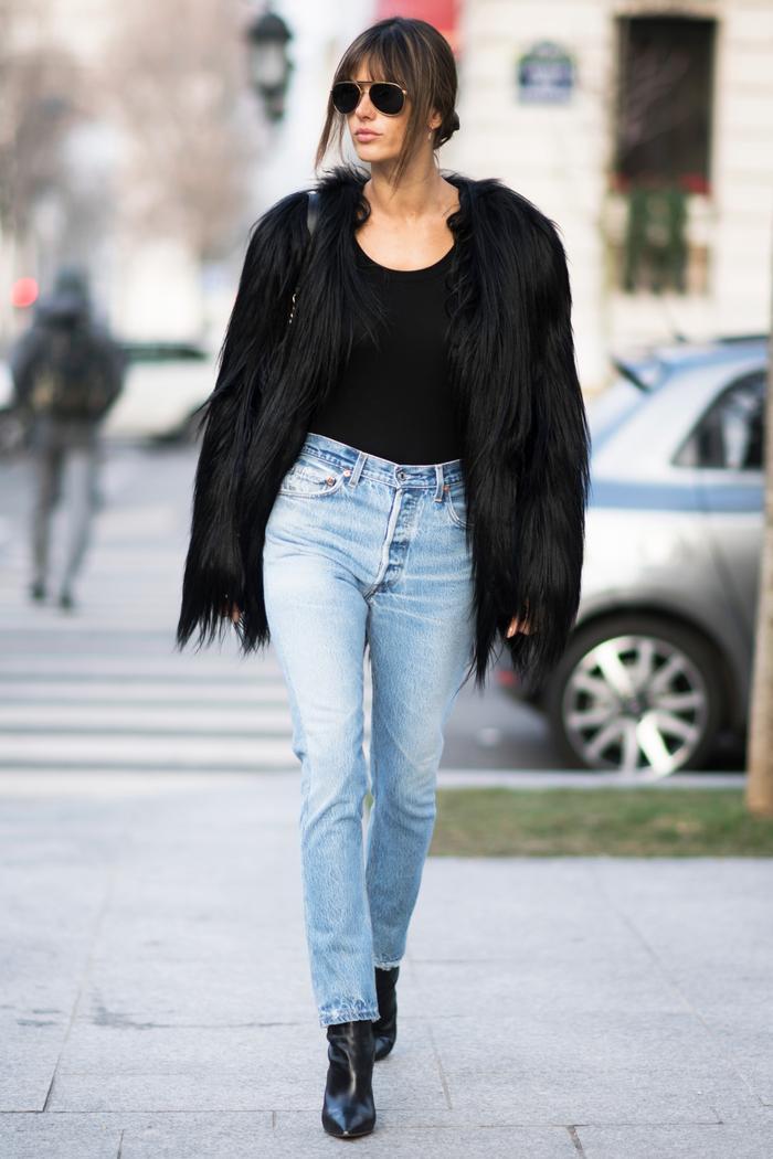 Alessandra Ambrosio Stella McCartney black furry jacket