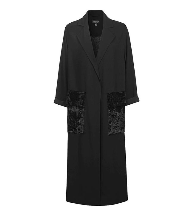 Topshop Velvet Pocket Duster Coat