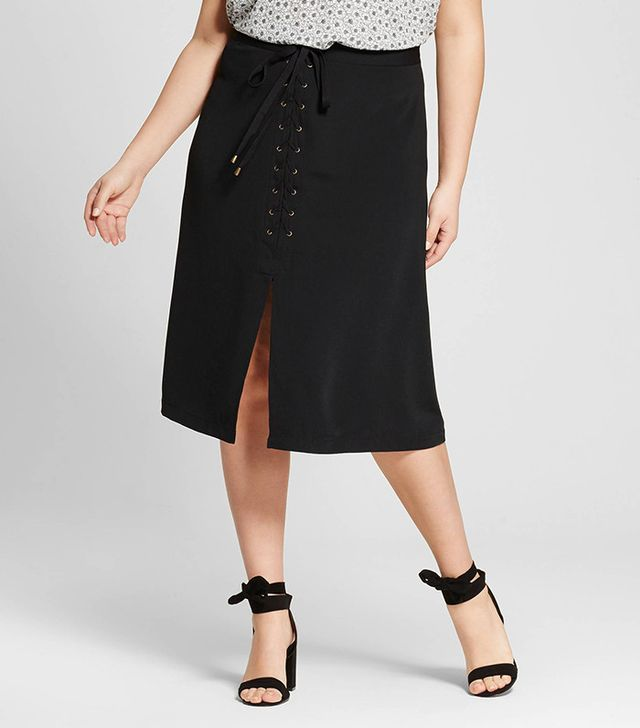 Who What Wear Collection Lace-Up A-Line Skirt