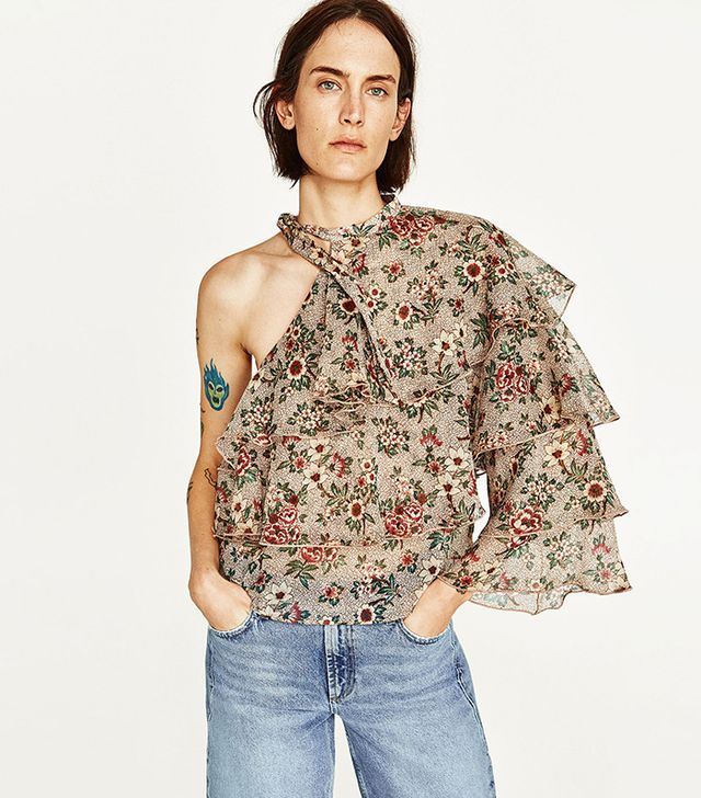 Zara Asymmetrical Print Top