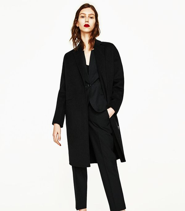 Most pinned Zara pieces: Black wool coat with zip
