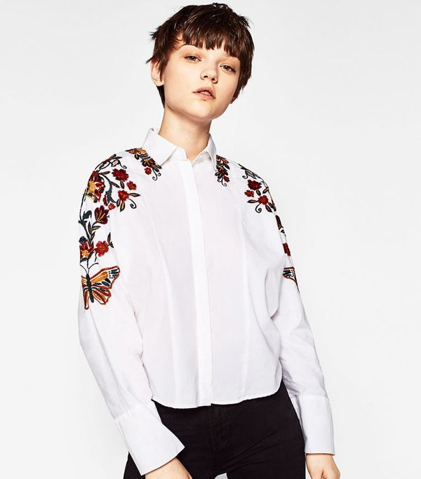 Most pinned items on Zara: Zara Floral Embroidered Shirt