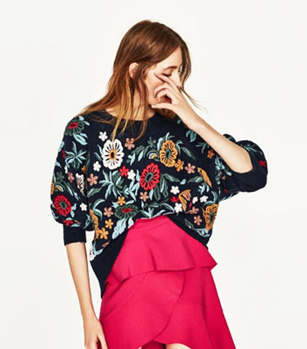 Most pinned Zara pieces right now: Zara Embroidered Sweate