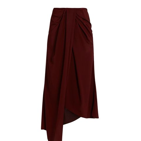 Twisted-Front Silk-Crepe and Satin Skirt