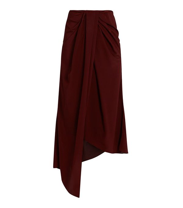 Sies Marjan Twisted-Front Silk-Crepe and Satin Skirt