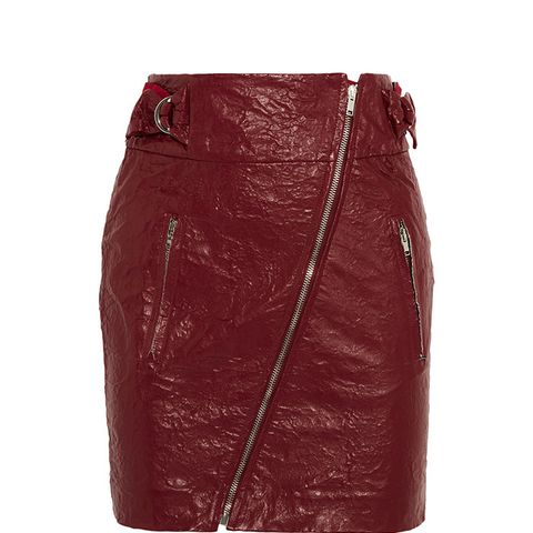 Breezy Faux Washed-Leather Mini Skirt