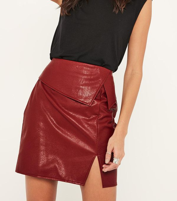 MIssguided Burgundy Faux Overlay Leather Mini Skirt