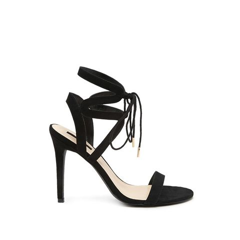 Faux Suede Strappy Ankle Heels