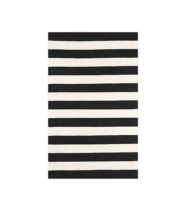 Crate and Barrel Olin Black Striped Cotton Dhurrie Rug