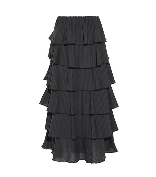 Caroline Constas Margi Picot-Trimmed Tiered Cotton-Voile Midi Skirt