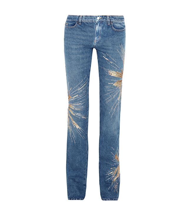 Attico Ava Embellished Low-Rise Slim-leg Jeans