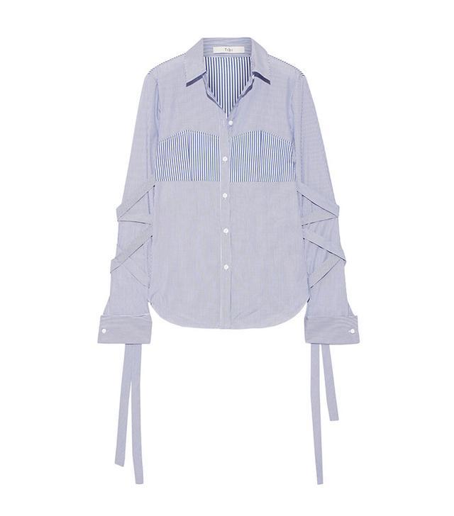 Tibi Striped Cotton-Poplin Shirt