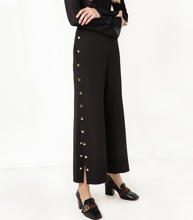 Pixie Market Sydney Black Snap Button Side Pants