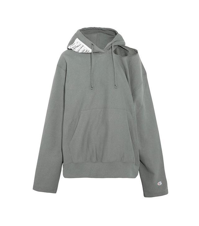 Vetements + Champion Cutout Cotton-blend Jersey Hooded Top