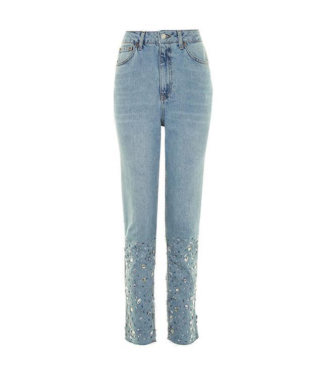 Topshop Tall Gem Hem Mom Jeans