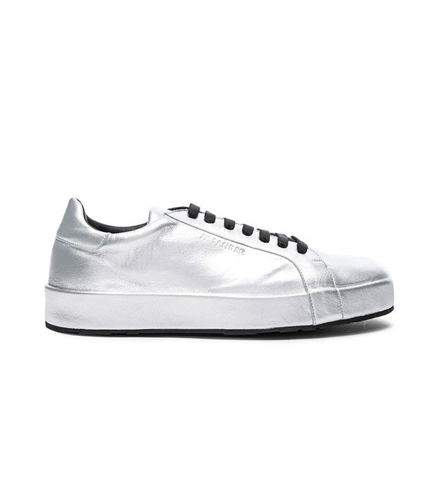silver metallic sneakers