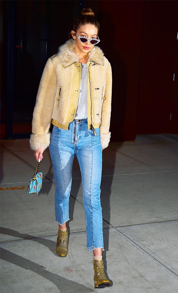 Celebrity Jeans: Gigi Hadid in Sandro Straight-Cut Jeans