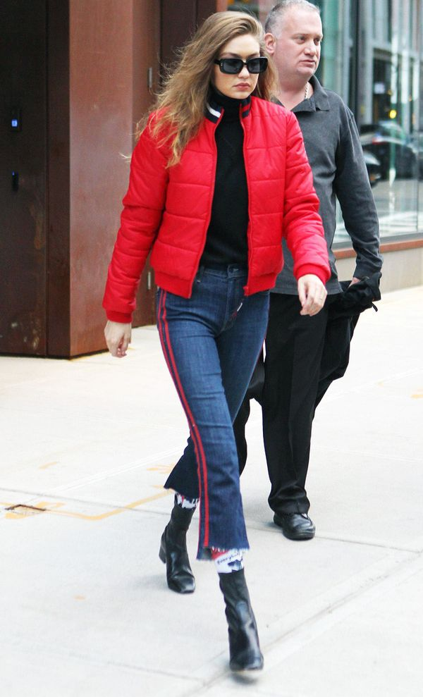 Celebrity Jeans: Gigi Hadid in Mother Jeans with a red side stripe