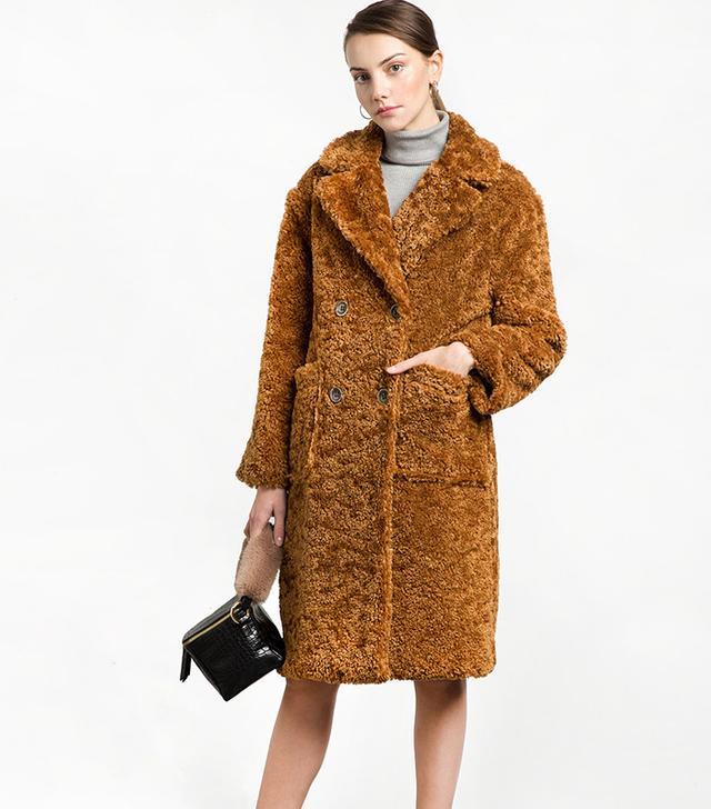 Pixie Market Teddy Button Faux Fur Coat