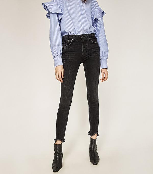 Zara Frayed Hem Skinny Jeans
